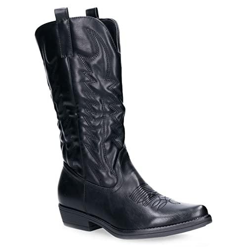 Toocool - Stivali Donna Texani Cowboy Western camperos Scarpe Inverno 2C8X9003 [39,Q8X5732-2 Nero]
