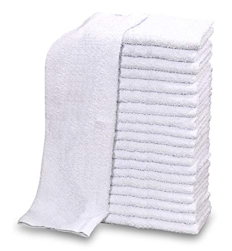 GOLD TEXTILES 120 PC New Cotton Blend White Restaurant Bar Mops Kitchen Towels 28oz (10 Dozen) (120, Blue Stripe)