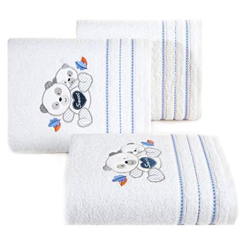 Design91 babyhanddoek wit blauw handdoeken kinderhanddoek kindermotief teddybeer teddybeer jongen badkamer zacht lief knuffelig, 50x90cm