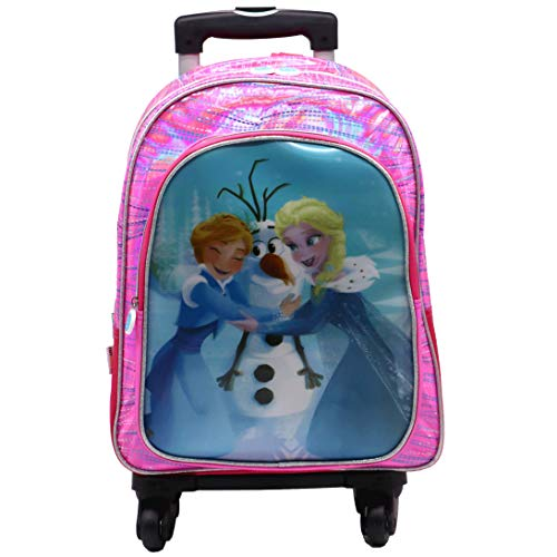 Frozen Vision 5D Effect Backpack with 4 Wheels Multi-Directional Swivel Trolley with Pocket