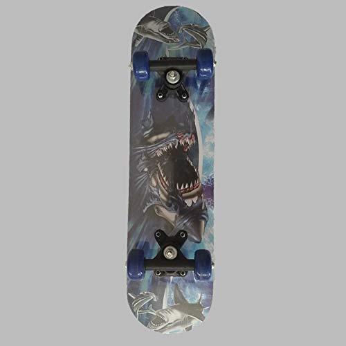 60cm Mini Cruiser Skateboard Retro Komplettbrett Hochflexibel für Kinder Jungen Jugendliche Anfänger -Hai_60 * 15