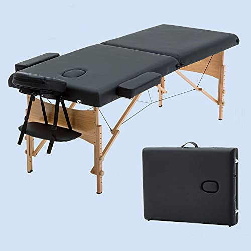 Height Adjustable Massage Table, Portable Wood Massage Table, Lightweight Folding Massage Bed, Spa Bed Tattoo Beauty Therapy Couch Bed Facial Cradle Salon Bed W/Carry Case, Black