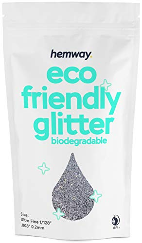 Hemway Eco Friendly Biodegradable Glitter 100g / 3.5oz Bio Cosmetic Safe Sparkle Vegan for Face, Eyeshadow, Body, Hair, Nail and Festival Makeup, Craft - 1/128' 0.008' 0.2mm - Silver