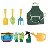 QPY - Attrezzi da giardinaggio per bambini, giocattolo da giardino per bambini, con annaffiatoio, guanti, rastrello, pale, strumenti da giardino, kit per bambini, regalo per bambini