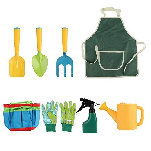 QPY Juego de Herramientas de jardinería para niños Juego de jardinería para niños con regadera, Guantes, Pala, rastrillo, Delantal para niños y niñas