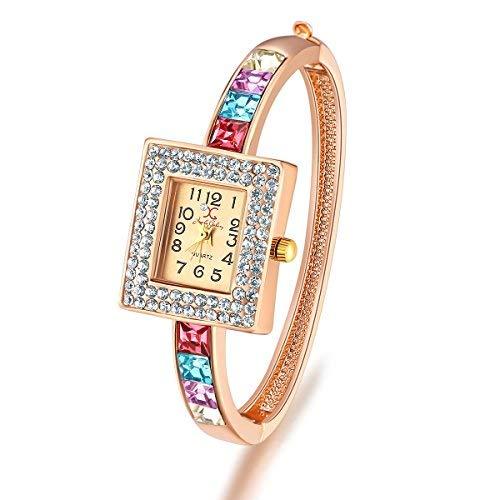 SataanReaper Presents Crystal Elements Limited Edition Sparkling Colors Fabulous 18K Rose Gold Charm Bracelet for Women/Girls #SR-2608