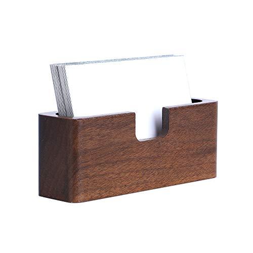 Yosco - Tarjetero de madera para tarjetas de visita de escritorio, tarjetas de visita, soporte para tarjetas de visita para oficina, mesa Rectangle