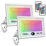 Olafus 【Lot de 2】Projecteurs LED Extérieur RGB 60W, 16 Couleurs et 4 Modes, IP66...