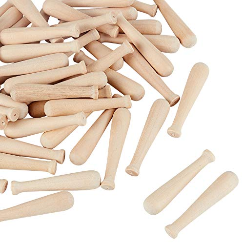 OLYCRAFT 50pcs Unfinished Mini Wooden Baseball Bats 2 Inch Half Drilled Natural Wood Baseball Bat Unpainted Baseball Bat Beads for Keychain Accessories DIY Craft Projects and Party Favors