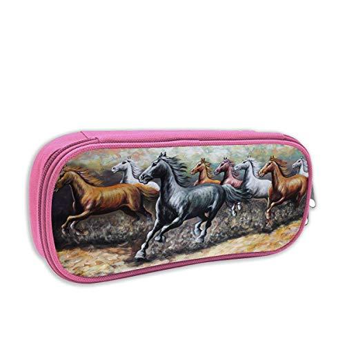 Lawenp Estuche para lápices con estampado de caballo guapo, gráficos para correr, portalápices portátiles, estuche organizador de papelería con cremallera