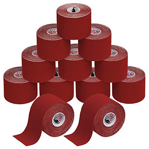 BB Sport 12 Rollos Cinta Kinesiología Tape 5 m x 5 cm Cinta Muscular E- Book Ejemplos Aplicación, Color:rojo