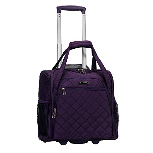 Rockland Melrose Upright Wheeled Underseater Carry-On Luggage, Purple