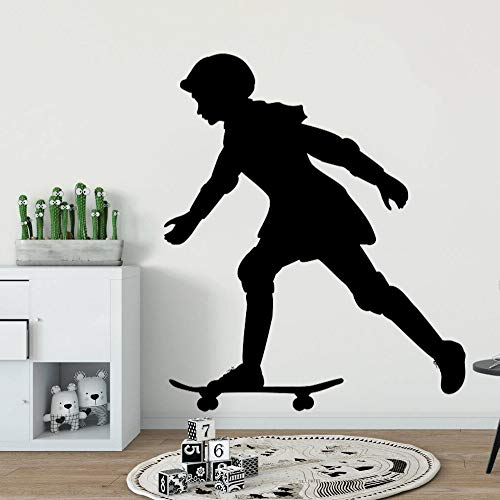 JXFM Teen Girl Skating Skateboard Muursticker Wandtattoo Design Kinderkamer Decoratie 57x74cm