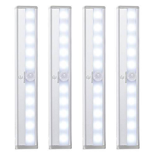 10 LED Movement Detector Light, Cordless Motion Sensor Night Light, for Stair Wardrobe Closet Cupboard Pantry Doorway, 5PCS Magnetic Strip, White, 4PACK