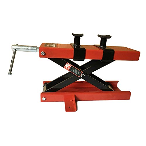 SUNROAD Motorcycle Repair Stand 1100LB Scissor Lift Jack ATV Motorcycle Dirt Bike Scooter Crank Stand,Red