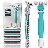 Nylea Razors for Women with Sensitive Skin - FlexShave - Premium Womens Razor for Shaving [6 Blades] Bikini Trimmer, Women's Shaver with Vitamin E and Aloe Vera Lubricating Strip with 3 Refills