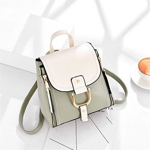 Y-hm Moda Perfetta Zaino in Pelle Black Donne Backpacks Low Scaff Sacchetto di Zaino Sveglio della Spalla per Le Donne Design Leggero (Color : Green White, Size : XL)