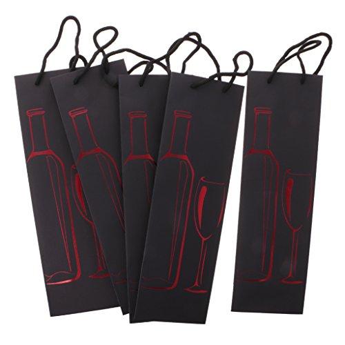 Flaschenbeutel, aus Papier, 5 Stücke Set, Wein Flaschen Beutel, Wein Geschenkbeutel, Flasche Muster, 12 x 9 x 39 cm - Rot
