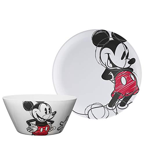 Zak Designs Disney Mickey Mouse - Kids Dinnerware Set, Including 10in Melamine Plate and 27oz Bowl Set, Durable and Break Resistant Plate and Bowl Makes Mealtime Fun (Melamine, BPA-Free)