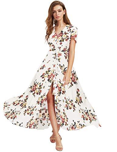 Milumia Women Button Up Floral Print Party Split Flowy Maxi Dress White Flroal Small