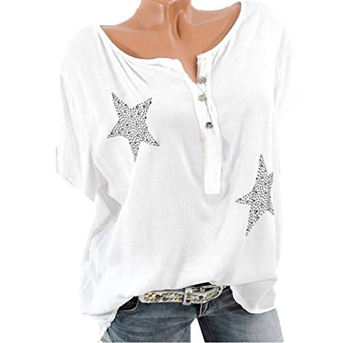 Große Größen T-Shirt für Damen/Dorical Frauen Kurzarm Rundhals Knopf Fünfzackigen Stern Hot Drill Tops Casual Sommer Sweatshirt Lose Hemd Tunika Oberteile S-5XL Ausverkauf(Weiß,Medium)
