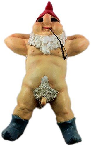 Hillfield® Porno Zwerg Nain de jardin nudiste/exhibitionniste et résistant aux intempéries 26cm nackter Mann