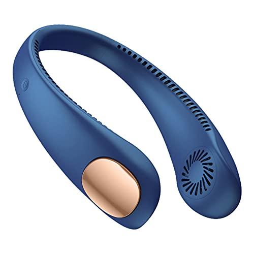 Gfhrisyty Ventilador de Cuello Ventiladores Deportivos Recargables USB Sin Cuchillas PortáTiles para Aire Acondicionado PortáTil para Colgar Al Aire Libre Refrigerador - Azul