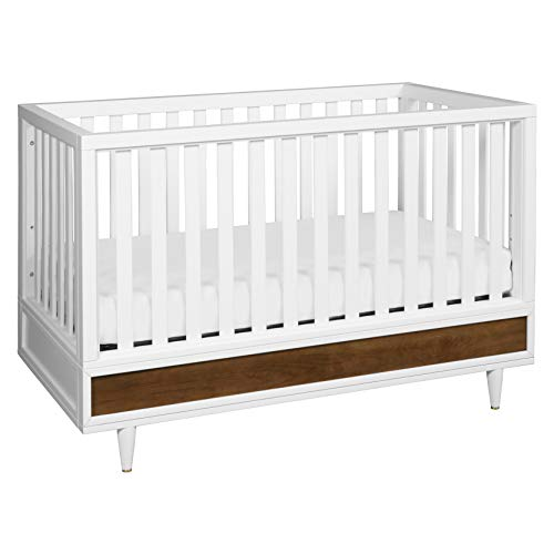 Babyletto Eero 4-in-1 Convertible Crib with Toddler Bed Conversion Kit in White/Natural Walnut, Greenguard Gold Certified