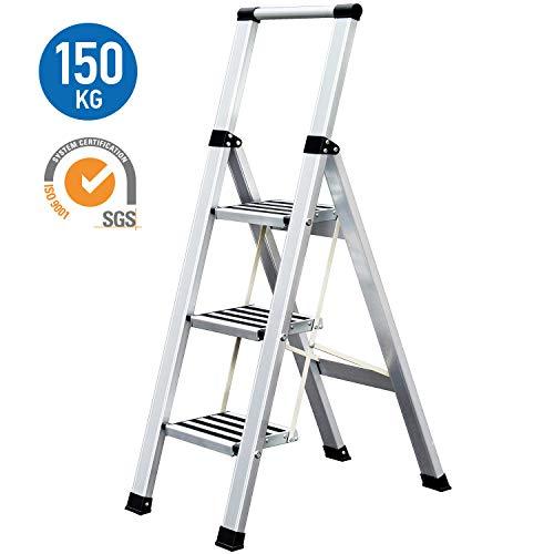 Tatkraft Adamant Escalera Plegable Hecha de Aluminio, 3 Escalones Antideslizantes, Soporta hasta 150 kg, Certificación SGS de Calidad y Seguridad