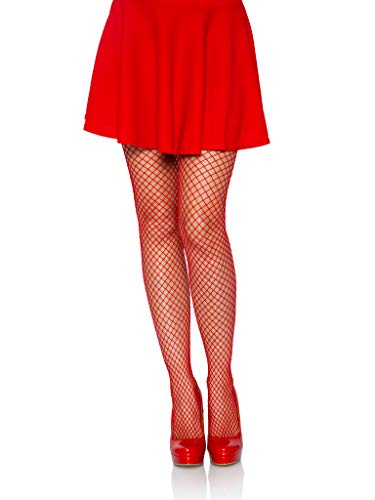 Leg Avenue Women's Spandex Industrial Fishnet Tights, Red, One Size
