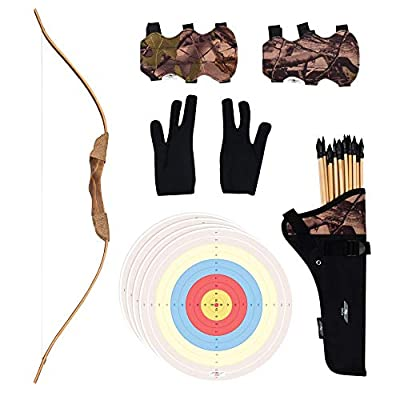 UTeCiA 30 Pcs Complete Archery Set for Kids & Beginners - Safety Rubber Tip Arrow Pack, Handcrafted Wooden Bow, Fabric Quiver, Arm Guard, Finger Glove, Target Sheets - Outdoor and Indoor Shooting Toy