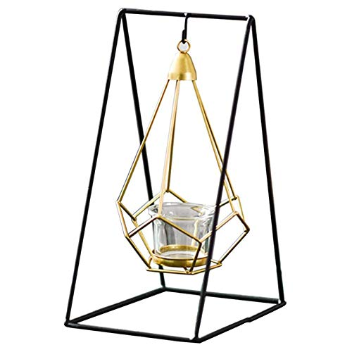 """LQX Black Candle Holders Modern Metal Candlestick Holders Three-Dimensional Geometric Pillar Candle Stand Suspension Candelabra, 5.2 X 5.2 X 10.2"""""""