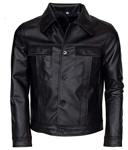 Leatherly Mens Clothing Elvis Presley Inspired Black Rockstar Genuine Leather Jacket-XXL