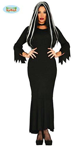 Guirca- Costume Morticia Famiglia Addams vampiressa Halloween Tunica Nera, Colore Nero, 84647