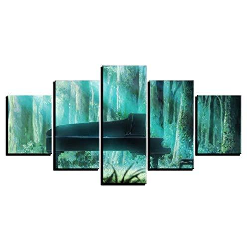 5 stuks canvas afdrukken muurkunst afbeeldingen, groene bos instrument piano, poster en afdrukken modulaire muurfoto, wooncultuur kunst / wandafbeeldingen foto afdrukken muur voor woonkamer, slaapkamer, H S:50×25cm (Frameless) zoals getoond