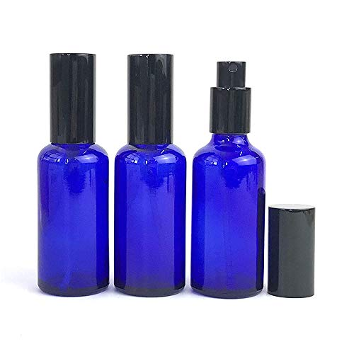 lanjing 2oz Blue Glass Spray Bottles for Essential Oils with Black Aluminum Sprayer 2 Pack-1 Mini Funnel, 2 Droppers, 4 Stickers