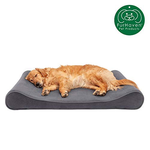Furhaven Pet Dog Bed | Memory Foam Micro Velvet Ergonomic Luxe Lounger Cradle Mattress Contour Pet Bed w/ Removable Cover for Dogs & Cats, Gray, Jumbo