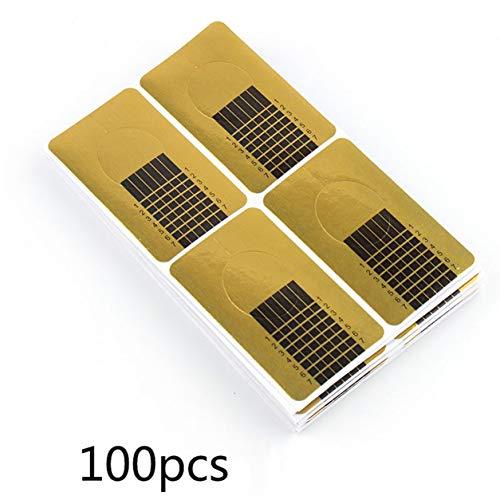 Dailyinshop Fournitures de manucure Gold Square Paper Cups Finger Rest Crystal Nail 100 Piece Phototherapy Extension en plastique