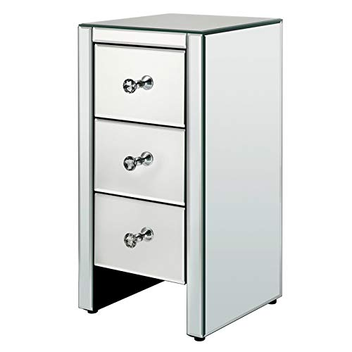 LJYLF Mirrored Glass Bedside Table, Three Drawers Filing Cabinet, Crystal Knobs, for Office Bedroom Storage Cabinet