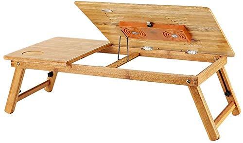 ZXL inklapbare bijzettafel van bamboe, voor de woonkamer, om te lezen met de laptoptafel (kleur: B)