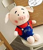 NC58 Poupon en peluche cochon rouge 50 cm pour anniversaire, Saint-Valentin, Halloween