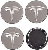 4 Piezas 56mm Tapas Rueda Centro Tapacubos De Abs Para Tesla Model X 3, Tapas Centrales, Centro Hub Caps, Cubierta De Polvo, Rueda Logo Insignia Coche Accesorios