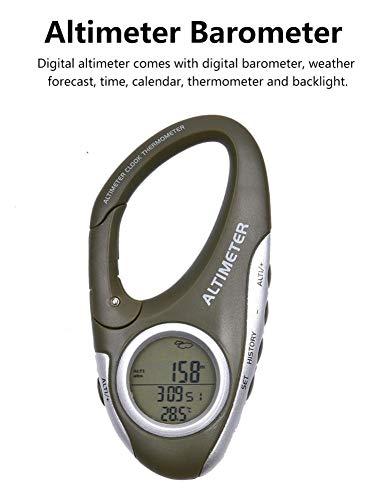 Basisago Multifunktions-Digital Höhenmesser Barometer Thermometer Hintergrundbeleuchtung Uhr Kalender Hängender Rucksackgürtel Leicht Zu Tragen, Für Outdoor-Wandern Camping