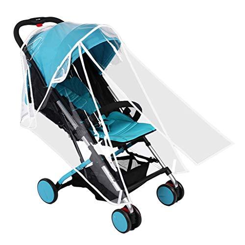 Ewendy Regenschutz für Kinderwagen/Jogger/Buggy/Rundumschutz, Universelle Kinderwagenabdeckung Kompletter Schutz Reißverschluss (M, Weiß)