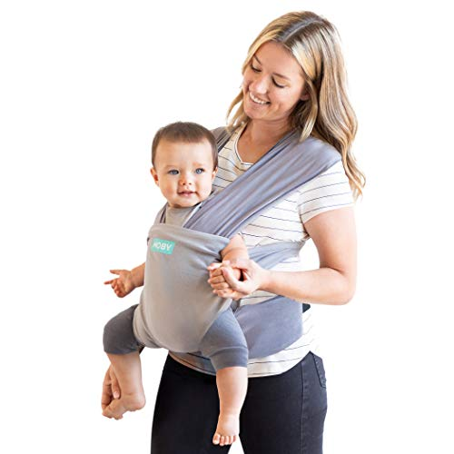 Moby Easy-Wrap Carrier   Baby Carrier and Wrap in One for Mothers, Fathers, and Caregivers   Designed for Newborns, Infants, and Toddlers   Holder Can Carry Babies up to 33 lbs   Smoked Pearl
