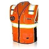 KwikSafety (Charlotte, NC) CLASSIC   10 Pockets Class 2 ANSI High Visibility Reflective Safety Vest Heavy Duty Mesh with Zipper and HiVis for OSHA Construction Work HiViz Men Women   Orange Medium