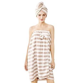 Bath Wrap for Women,H HomeZzz Women Shower Wrap Lightweight Spa Bathrobe Comfortable Bath Towels Body Wrap with Adjustable Velcro + Hair Drying Towel Set