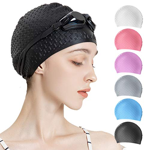 Tripsky Silicone Swim Cap,Comfortable Bathing Cap Ideal for Curly Short Medium Long Hair, Swimming Cap for Women and Men, Shower Caps Keep Hairstyle Unchanged (Black)