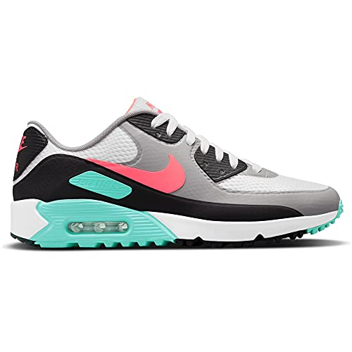 Nike Air Max 90 G White Hot Punch Black Chaussures de golf, multicolore, 46 EU