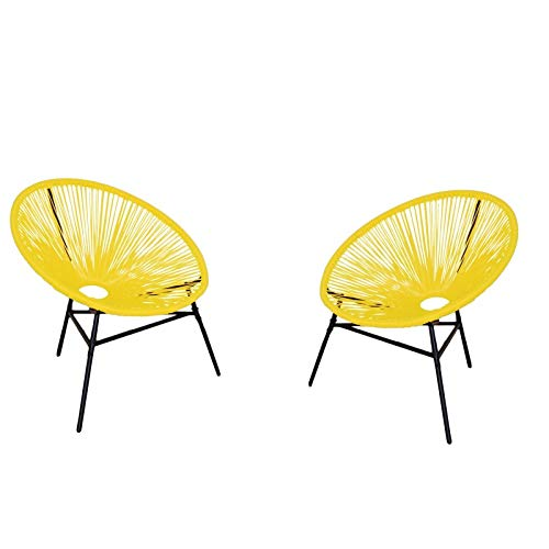 2 Sillas de jardín amarillas estilo acapulco